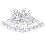 Pearls and Crystal Flower Wedding Bridal Hair Pins Clips Bridesmaid Jewellery for women