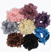6PCS Lace Flower Hair Scrunchies with Crystal Beads Elastic Hair Bands