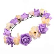 Cfrmall Women Rose Flower Foam Garland Wedding Flower Headband Hairband Boho Festival