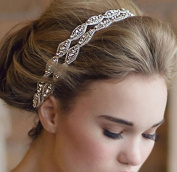 Healthcom Headband Tiara Double Strip Diamond Elegant Luxury Handmade Jewellery Beads Bridal Wedding Evening Pageants Accessory Hair Head Band