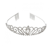 NUOLUX Princess Tiara Crown Hair Loop with Comb For First Communion Wedding Sliver