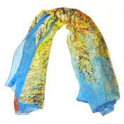 Wrapables® 100% Mulberry Silk Square Scarf, Van Gogh's Peach Tree in Bloom
