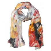 Wrapables® Luxurious 100% Charmeuse Silk Floral Painting Long Scarf with Hand Rolled Edges, Pansies