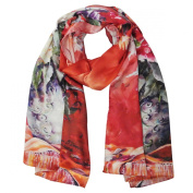 Wrapables® Luxurious 100% Charmeuse Silk Floral Painting Long Scarf with Hand Rolled Edges, Floral Bouquet