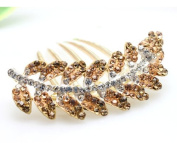 Champagne Fashion Clear Bling Rhinetone Leaves Shape Decorative Hair Comb Barratte Pin Clip for Long Hair Ponytail