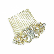 Bridal Medium Gold Scrolls Rhinestone Pearl Crystal Comb