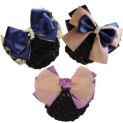 Xuanli® 3 Pcs Woman Girl Lady Bowknot Bow Snood Net Bun Cover Barrette Hair Clip