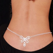 joylive Sexy Glittery Rhinestone Gem Butterfly Body Jewellery Belly Waist Belly Chain Dance Bridal Wedding