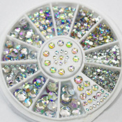 LKE 5 Sizes White Multicolor Acrylic Nail Art Decoration Glitter Rhinestones