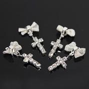 Kaifina 10pcs Silver Rhinestone Bowtie with Cross Dangle 3D Alloy Nail Art Decoration