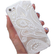 For iPhone 5 5S SE,TOOPOOT Henna White Floral Plastic Case for iPhone 5 5S [Special Edition]
