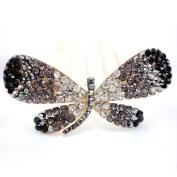Winson Women's Bling Butterfly Rhinestone Beaded Hair Fringe Pin Clip Accessory Black