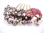 Winson Women's Peacock Birds Rhinestone Valentine's Gift Hair Comb Pin Clip Accessory Pink