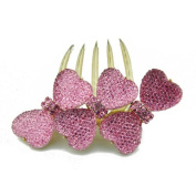 Winson Women's Clear Facted Three Bowknot Charms Sweet Hair Fringe Comb Pin Clip Pink