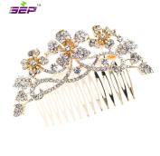 Gold Flower Rhinestone Crystal Bridal Wedding Hair Comb Pin Accessories Jewellery FA5021GCL