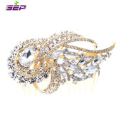SEP Rhinestone Crystal Wedding Bridal Ribbon Gold Hair Comb Jewellery Accessories 4243GCL