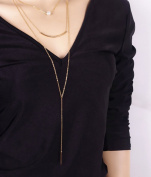 Leiothrix Simple Multilayer Alloy Golden Necklace for Women and Girls Apply to Weeding Party Casual