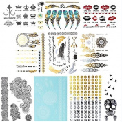 12 Sheets Premium Metallic Tattoos-150 Design Body Art Henna Sticker Patten Type:Lace ,Feathers,Bird,DIY Letters ,Crown,Silver,Gold Shiny MixedTemporary Tattoos Set More By Zhenhui