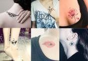 BININBOX 6 Sheets Fashion Body Art Stickers Waterproof Temporary Tattoo - Red lip, angel, anchor, lotus