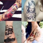BININBOX 4 Sheets Temporary Tattoo Stickers, Buddha, Carp, Skull, Rose
