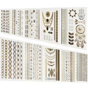 BeneU Metallic Temporary Tattoos Gold and Silver Shiny Jewellery Tattoos 10 Sheets Pack Shimmer Designs in Gold, Silver, Black & Turquoise