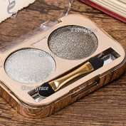New Glitter Shimmer 2 Smokey Colours Makeup Eyeshadow Palette Eye Shadow Tool Set