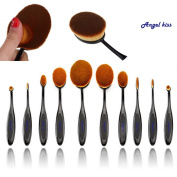 Angel Kiss Best Makeup Brushes Set - 2016 Professional 10 Pcs Soft Oval Toothbrush Makeup Brush Sets Foundation Brushes Cream Contour Powder Blush Concealer Brush Makeup Cosmetics Tool Set