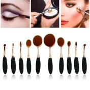 Willtoo 10PC/Set Toothbrush Eyebrow Foundation Eyeliner Lip Oval Brushes