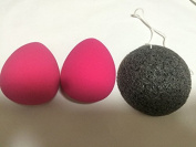 AUSKY 2pcs Perfect Pro TearDrop Flawless cosmetics Beauty Sponges Blender and 1 100% Natural Activated Bamboo Charcoal Infused Premium Konjac Sponge