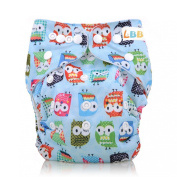 Baby Cloth Pocket Nappy Washable Reusable with Adjustable Snap, Owl Pattern Blue