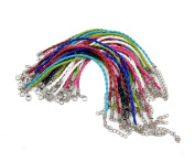 Coolrunner Leather Lace bracelet Cords DIY Jewellery Making Ropes with Lobster Clasps Extended Chain 30pcs
