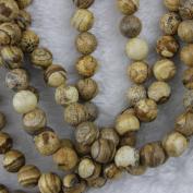 6mm Round Picture Jasper Beads Loose Gemstone Beads Strand 38cm Jewellery Making Beads