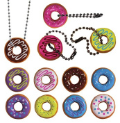I Love Donuts Necklaces and Keychains. Set of 12 ~ All Assorted Colours, Complete with Ball chains.