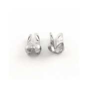 Pack 30 x Silver Stainless Steel 4 x 8mm Bead Tips Clamshells Calottes - (Y00905) - Charming Beads