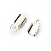 Linsoir Beads F2257 Stainless Steel Crimp Ends Caps Connectors Jewellery Findings 9.5x4.5mm 100pcs/lot