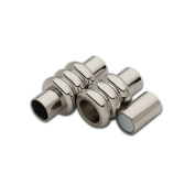 Linsoir Beads F2286 Stainless Steel Hole Size 5mm Column Magnetic Clasp Connector for Leather Bracelet - Pack of 1