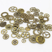 Aokbean 150 Gramme Assorted Vintage Bronze Metal Steampunk Jewellery Making Charms Cog Watch Wheel for Crafting, Cosplay