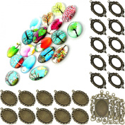 60pc Tree of Life Jewellery Making Kit Cameo Crafts Oval Metal Blank Frame Unset Glass Cabochon 25x18mm