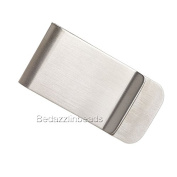 Surgical Stainless Steel Silver Blank 5.1cm x 2.5cm Rectangle Money Clip Finding