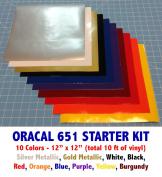 Starter Kit of Oracal 651 Vinyl, 10 colours 30cm x 30cm sheets