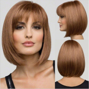 Miss Kiss Hair Bob Wig with No Lace Machine Made Short Straight Fashion with Cap Heat Resistant Synthetic with Elastic String and Combs Celebrity Hairstyles Rihanna