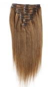 OBeauty Clip in Human Hair Extensions Natural Brazilian Remy Virgin Hair Straight #8 Light Chestnut Brown Light Brown 8 pcs 120 grammes