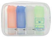 Travel Bottles Set of Four 80ml Leak Proof Silicone bottles with TSA Approved Bag