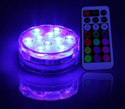 Grandey 10 LED Submersible Candle Waterproof Remote Control Multicolor Floral Vase Base Light Wedding,Party,Christmas,Home Decoration
