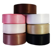 Laribbons 2017 Fashion Colour Pink Memory Series Double Face Satin Ribbon for Craft Gift Wrap - 1.6cm By 5 Yard * 7 Colour