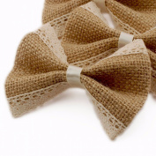 Summer-Ray.com 10pcs Handmade Burlap Bow with Lace