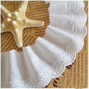 White 5 Yards Retro Embroidery Cotton Lace Dress Lace Craft Sewing Lace Costumes Supplies 5.8cm Wide