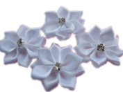 YYCRAFT Pack Of 40 Pieces Satin 3.2cm Ribbon Flower A+Rhinestone-White