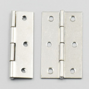 Bluemoona 10 Pcs - Cabinet Drawer Door Stainless Steel Butt Hinges Furniture Hardware With Screws 37x66mm