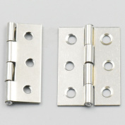 Bluemoona 20 Pcs - Cabinet Drawer Door Stainless Steel Butt Hinges Furniture Hardware With Screws 32x44mm